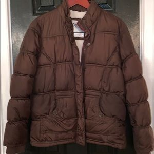 Justice brown puffer coat with fleece lining 16